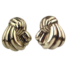 Vintage Sterling Silver Puffy Bundles Pierced Earrings