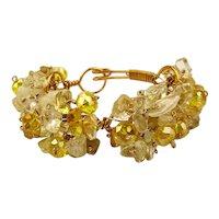 Vintage Glass - Crystal Clusters Goldtone Wired Bracelet