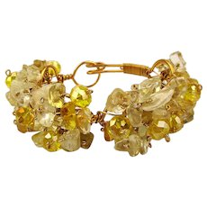 Vintage Glass - Crystal Clusters Goldtone Wired Bracelet