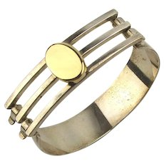 Sleek Sterling Silver w/ 14K Gold Modernist Bracelet