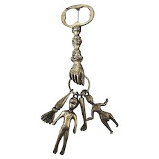 Weird Old Hand Key Pin w/ Dangling People Leg Arm Charms