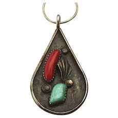 Old Navajo Sterling Silver Teardrop Pendant Necklace Turquoise - Red Coral