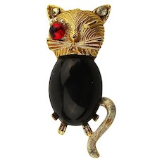 Jeweled Vintage Cat Pin Brooch - Jelly Belly - Rhinestones - So Arrogant