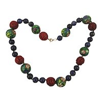 Vintage Chinese Bead Necklace - Enamel Cloisonne Cinnabar Lapis