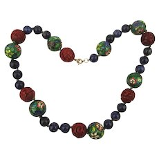 Vintage Chinese Bead Necklace - Enamel Cloisonne Cinnabar Lapis