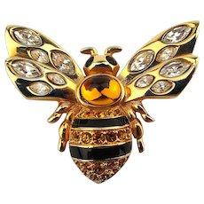 Swarovski Crystal Rhinestone Bee Pin Brooch Insect