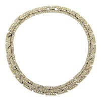 Vintage ORA Rhinestone Necklace - 3 Rows Wide - Rhodium Plated