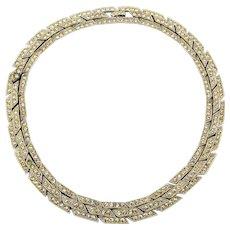 Vintage ORA Rhinestone Necklace - 3 Rows Wide - Rhodium Plated