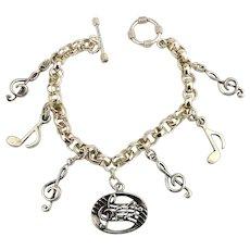 Sterling Silver Charm Bracelet Music Music Music