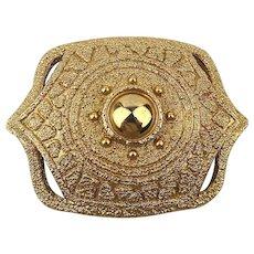Big Golden Etruscan Textured Heavy Pin