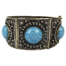 Vintage Link Bracelet w/ Faux Turquoise - Cannetille Wire Work