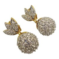 Swarovski Crystal Encrusted Drop Clip Earrings Swan Logo