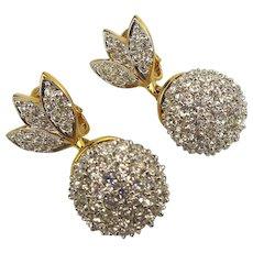 Swarovski Crystal Encrusted Drop Clip Earrings Swan Logo
