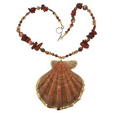 Vintage Shell Necklace - Raw Baltic Amber - Gold-Filled - Abalone