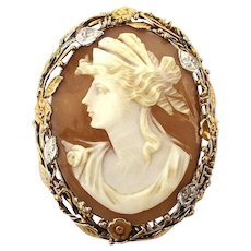 Antique 14K Gold Carved Shell Cameo Pin Pendant - Greek Goddess Demeter