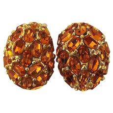 Vintage KJL Kenneth Lane Rhinestone Clip Earrings Bold Domes