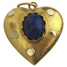 Old 565 (13.5K) Gold Puffy Heart Charm w/ Lapis - Two Sided Pendant