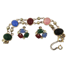 Scarab Bracelet Earrings Set - Gold-Filled Carved Gemstones