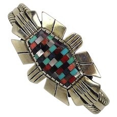 Signed Relios 925 Sterling Silver Mosaic Gemstone Inlay Cuff Bracelet