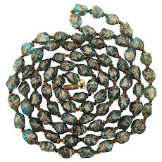 Long 42 Inch Venetian Art Glass Necklace - Gold-Flecked Turquoise Beads