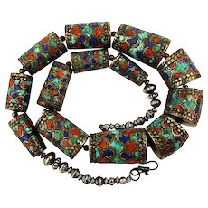 Bold Ethnic Nepalese Necklace Big Barrel Beads w/ Turquoise Coral Lapis Inlay