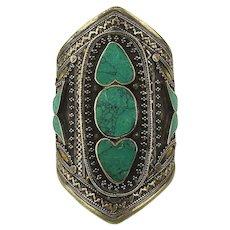 Vintage Big Heavy Nepalese Cuff Bracelet w/ Turquoise Inlay