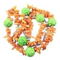 Genuine Pink Coral Necklace w/ Carved Green Beads