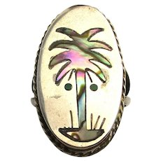 Taxco Sterling Silver Ring PALM TREE w/ Abalone Shell Inlay