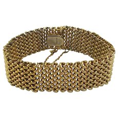 Classic Vintage Gold-Filled Woven Mesh Bracelet