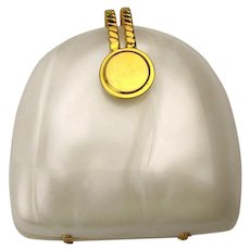 Small Vintage Lucite Handbag - Pearly White - Strap or Clutch