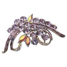 Vintage Lavender Aurora Borealis Rhinestone Pin Brooch