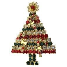 Vintage Crystal Rhinestone Christmas Tree Pin