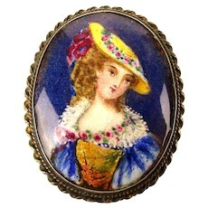 Old Enamel Handpainted Pin Pendant in Sterling Silver Frame - Hat Lady