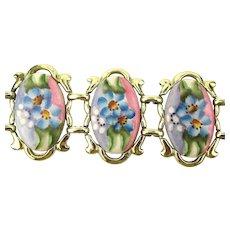 Vintage Wide Handpainted Porcelain Link Bracelet