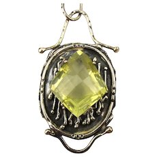 Modernist Sterling Silver Studio Necklace Huge Citrine Pendant