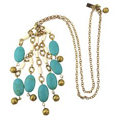Vintage Lilly Pulitzer Goldtone Chain Necklace w/ Faux Turquoise & Bead Dangles