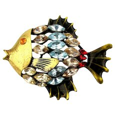 Signed Vintage Fish Pin w/ Colorful Rhinestones