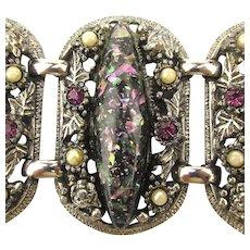 Selro Black Rhinestone Confetti Bracelet - Big Wide Links