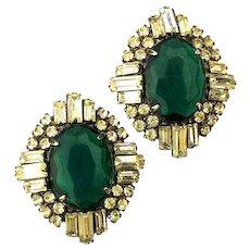 Art Deco Rhinestone Earrings - Faux Diamonds w/ Emerald Glass