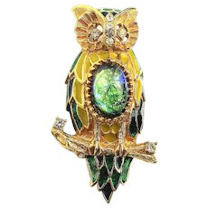 Florenza Jeweled Enamel Rhinestone OWL Pin Brooch