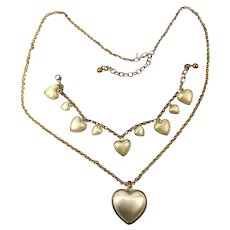 Vintage Joan Rivers Heart Necklace - Bracelet Set - Reversible Brushed Gold / Silver Tone