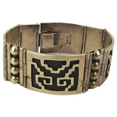 Taxco Sterling Silver Mexican Bracelet Aztec Overlay Design