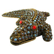 Old Tibetan Brass Turquoise - Coral Studded Alligator Figurine