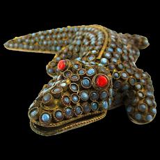 Old Tibetan Brass Turquoise - Coral Studded Alligator Figurine