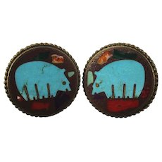 Designer Southwest Bear Inlay Pierced Earrings in Bronze