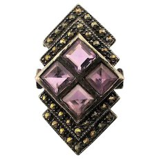Art Deco Style Sterling Silver Ring w/ Marcasite - Amethyst Windows