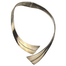 Taxco 925 Modernist Sterling Silver Necklace Hinged Collar Band