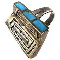 Unique Navajo Sterling Silver Ring w/ Turquoise Inlay Sides