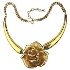 Vintage Piscitelli Figural Rose Gilded Necklace