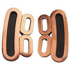 Modernist Renoir Copper Clip Earrings Unworn Rare Design